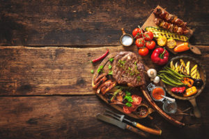 grilled meat and vegetables image